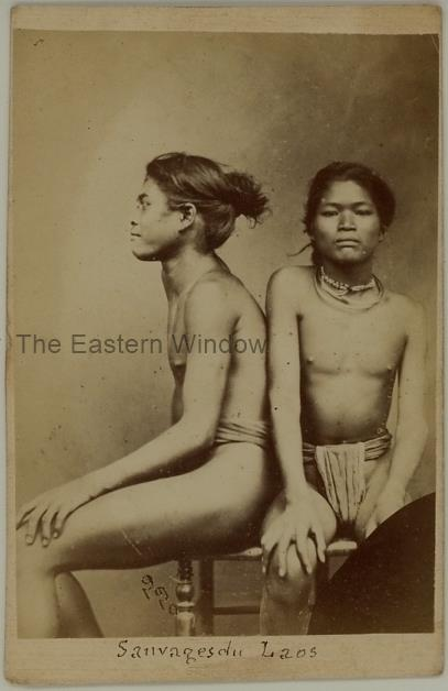 Portrait of two seated ethnic inhabitants from Laos - Albumen carte de visite by Emile Gsell (1838-1879)